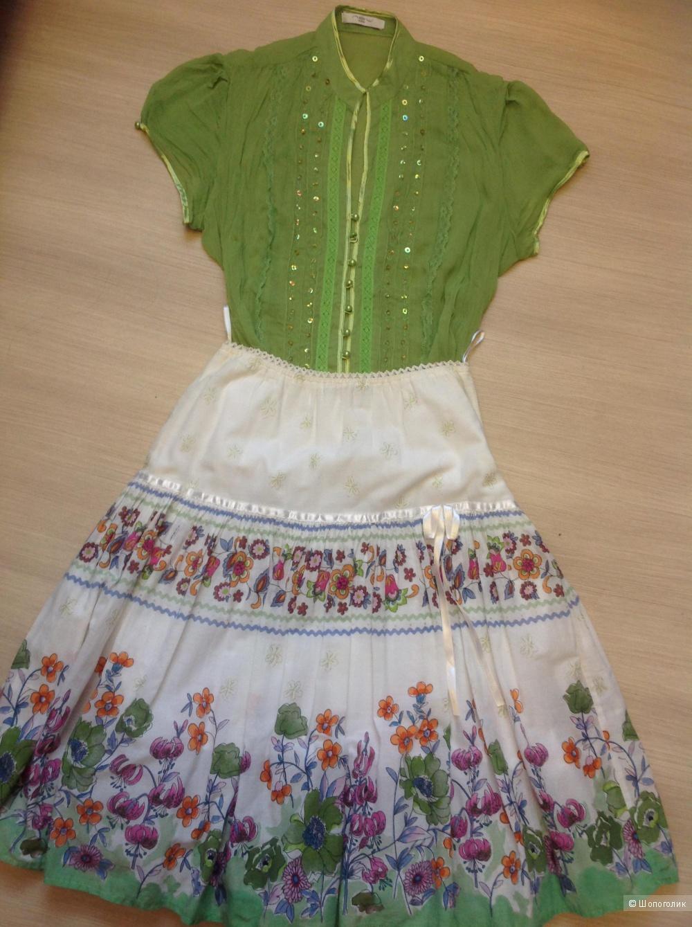 Комплект, блузка/NEW LOOK + юбка/ULTIMOD, разм. M-L