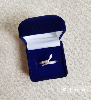 "Серебряное кольцо ""Змея"", размер 17"