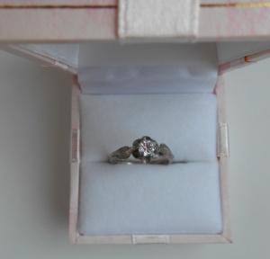 Кольцо серебро с фианитом  р. 15