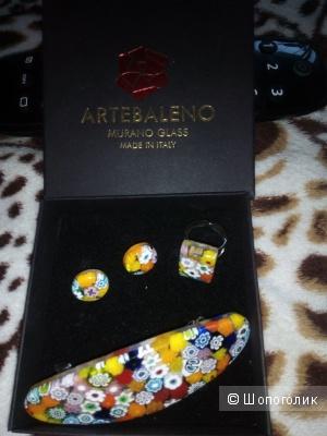 Набор серьги+кольцо+заколка, Murano Glass