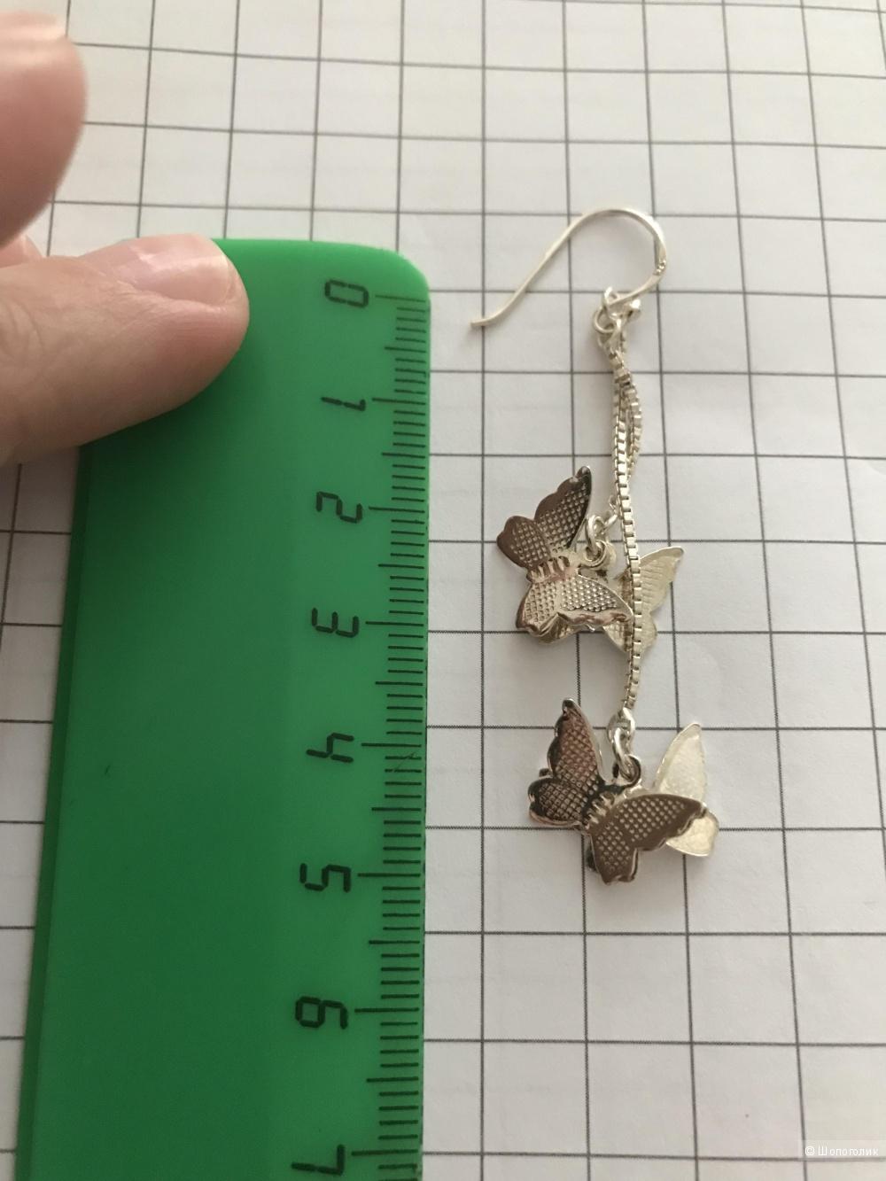 Серьги-подвесы с бабочками, серебро.