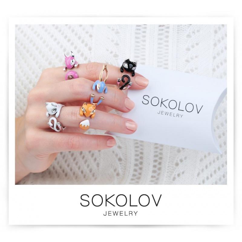 Кольцо лисичка из серебра с позолотой Sokolov, р-р 17
