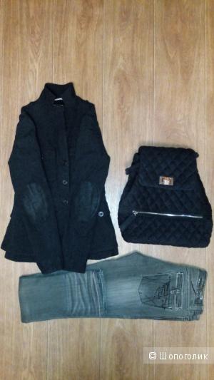 Сет из трех вещей: Жакет RA RE-  р XS, джинсы MOOD- р XS; рюкзак no name