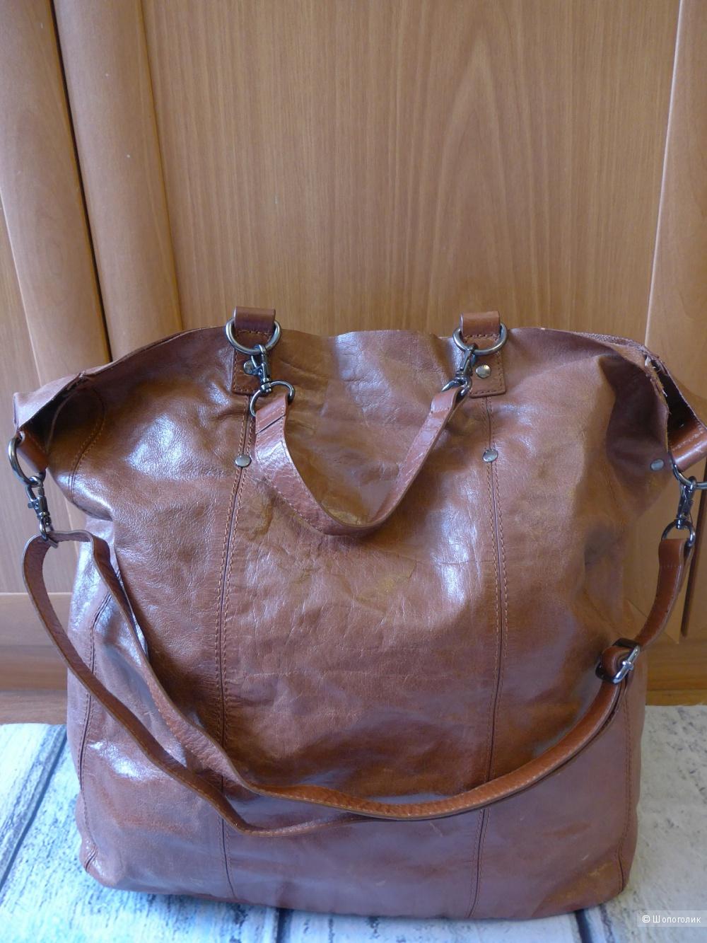 Кожаная сумка-шоппер Mango