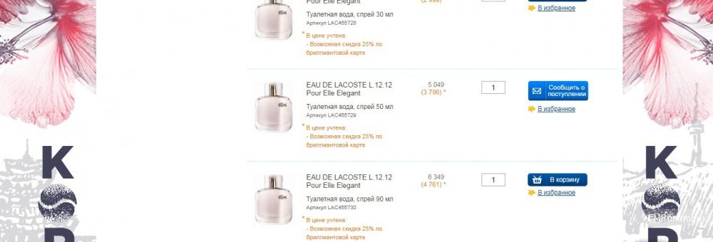 Туалетная вода жен. EAU DE LACOSTE POUR ELLE ELLEGANT .90 мл