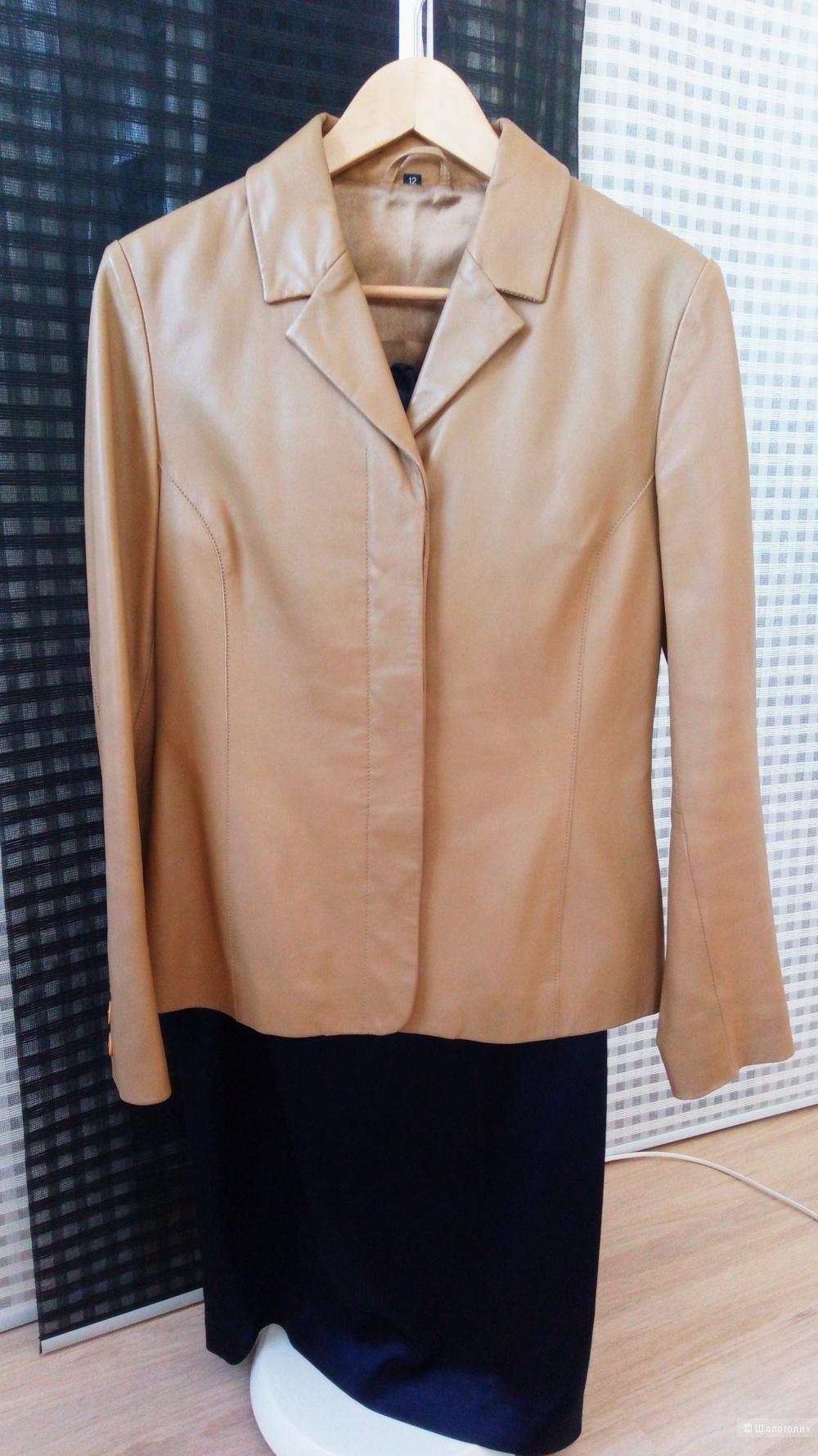 Кожаная куртка-пиджак, 12 размер на 44-46 русский