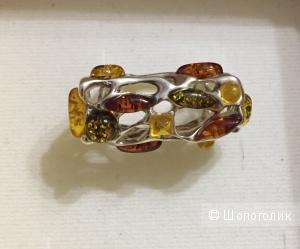 Дизайнерское кольцо с янтарём No name
