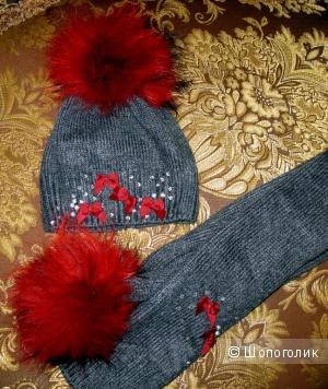 Комплект Pinetti (шапка+ шарф) для девочки на 2 года
