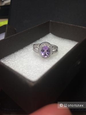 Кольцо серебро с аметистом 17,5