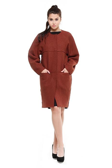 """Пальто """"кокон"""" из вареной шерсти """"Этноарт"""", размер 42-44."""