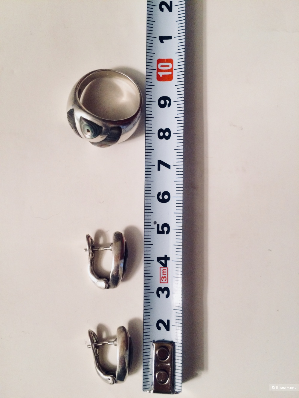 Комплект кольцо и серьги серебро 925 с перламутром