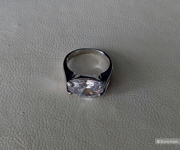 Кольцо с белым кристаллом, 17-17,5