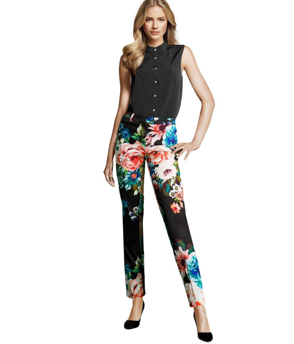 Брюки в цветы H&M размер 34