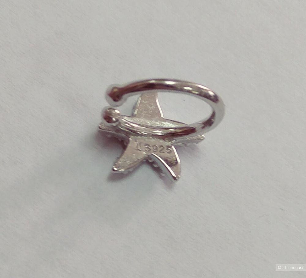 """Кафф (непарная серьга), """"Морская звезда"""", серебро 925"""
