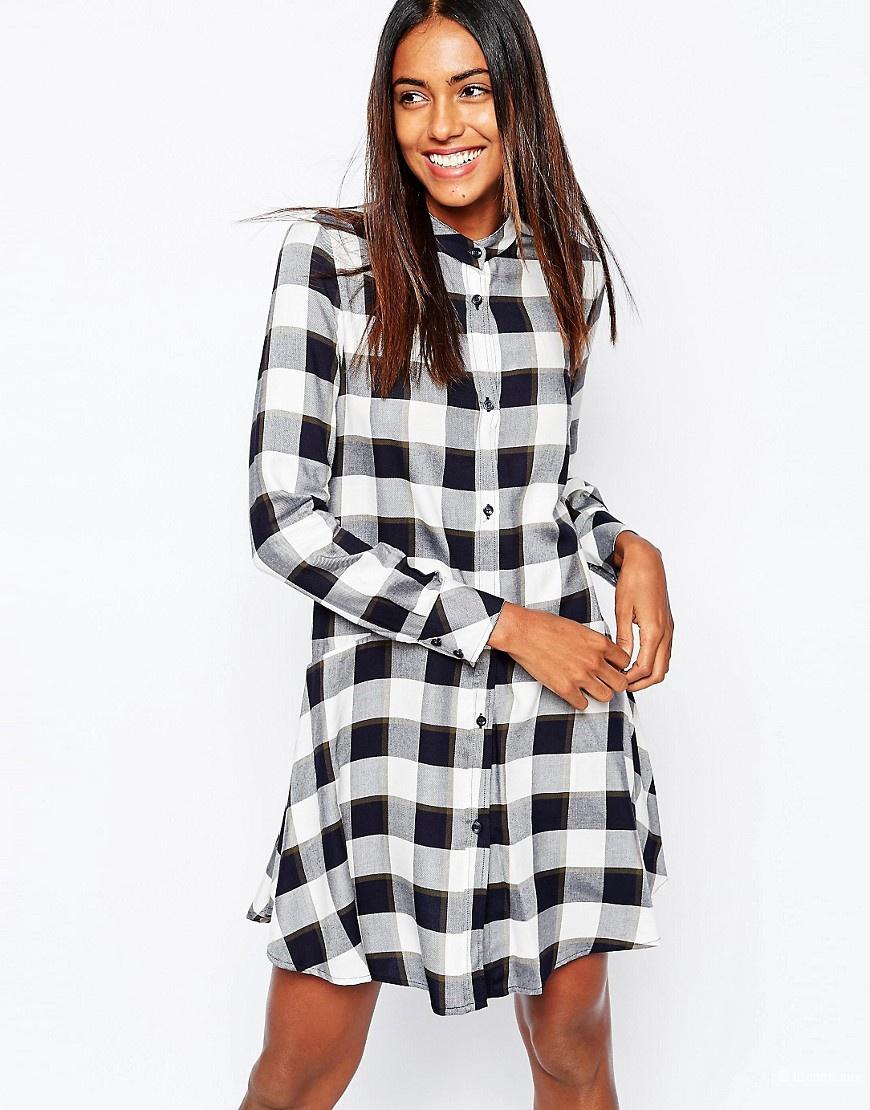 Клетчатое Платье-рубашка, 42-44
