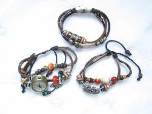 Кожаные браслеты сетом. one size