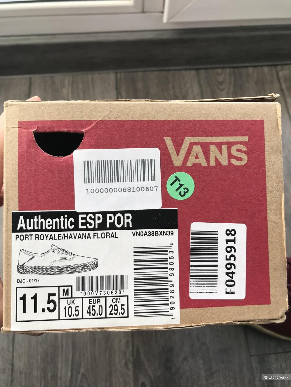Кеды VANS uk10.5-eur45-us11.5 (по стельке 29 см)