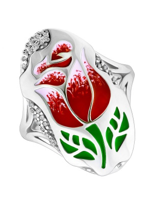 Кольцо  серебряное ТЮЛЬПАН, размер 17