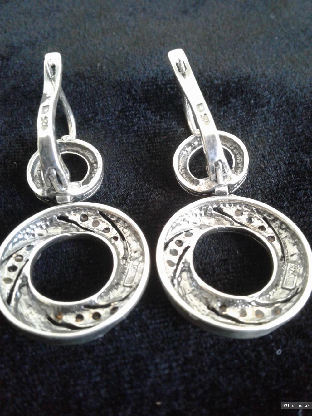 Серьги серебро 925 с фианитами