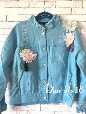 Куртка джинсовая, DIOR blue,  oversize