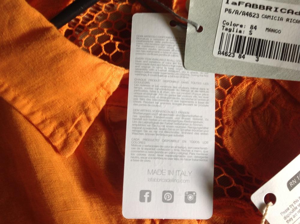 Льняная рубашка La fabrica del lino размер S большемерит (М фактически)