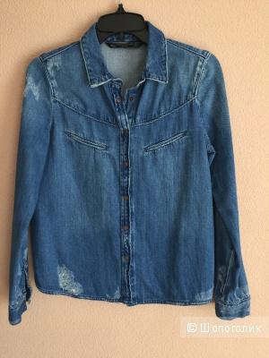 Zara джинсовая рубашка размер XS