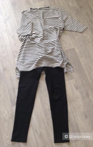 Платье-туника Zara, леггинсы Bee free, размер L (48-50)