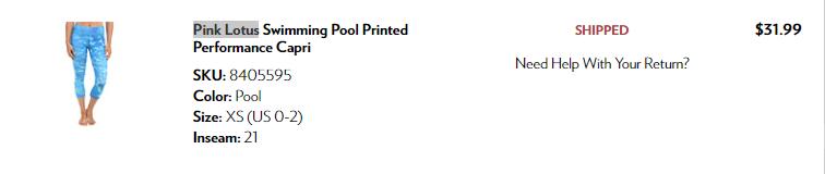 Капри  Pink Lotus XS (на S-M) Цвет Swimming pool