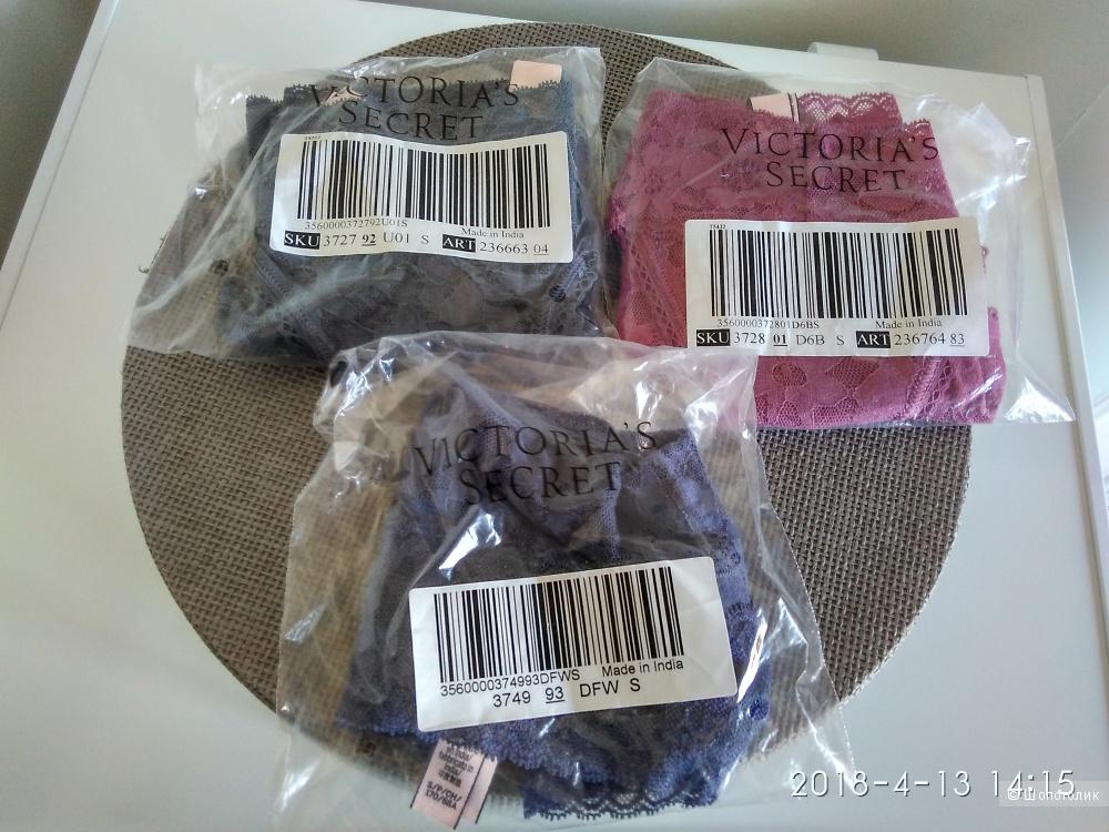 Кружевные трусики Victoria`s Secret маркировка S (комплект из 3х шт)