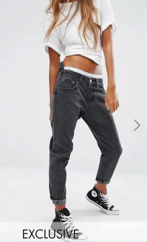 Liquor & Poker Boyfriend Jeans with Stepped Waist, ЮК8