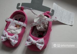 Ботиночки для новорожденной Disney, размер 0-6м