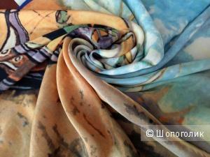 Платок шелковый, Ван Гог, «Лодки в Сен-Мари», 90*90 см.
