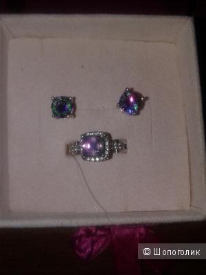 Кольцо серебро 925 пробы с мистик-топазом 16.5 размер +серьги  бижутерия в подарок.