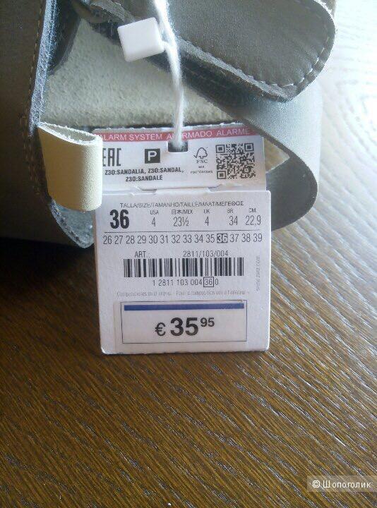 Кожаные сандали Zara, 36 размер