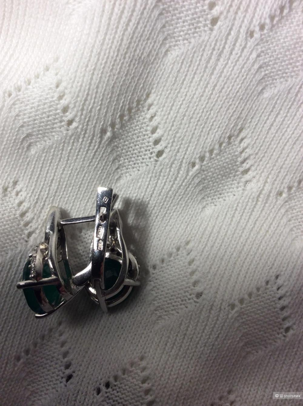 Серьги из серебра с агатом и цирконами