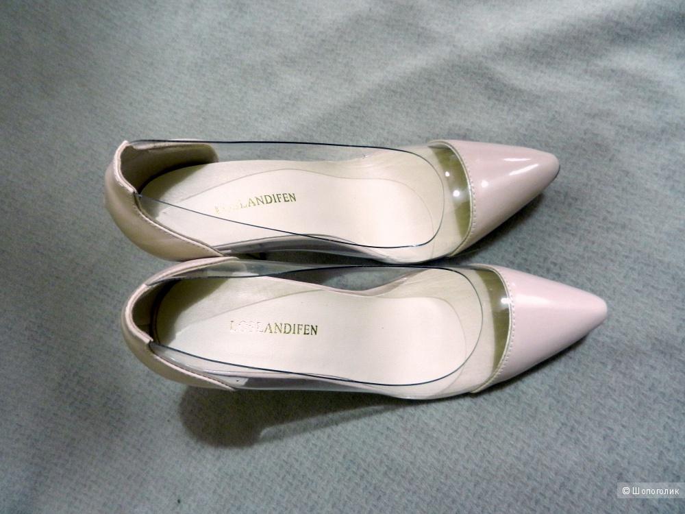 Туфли LOSLANDIFEN с прозрачными вставками, стелька 25 см