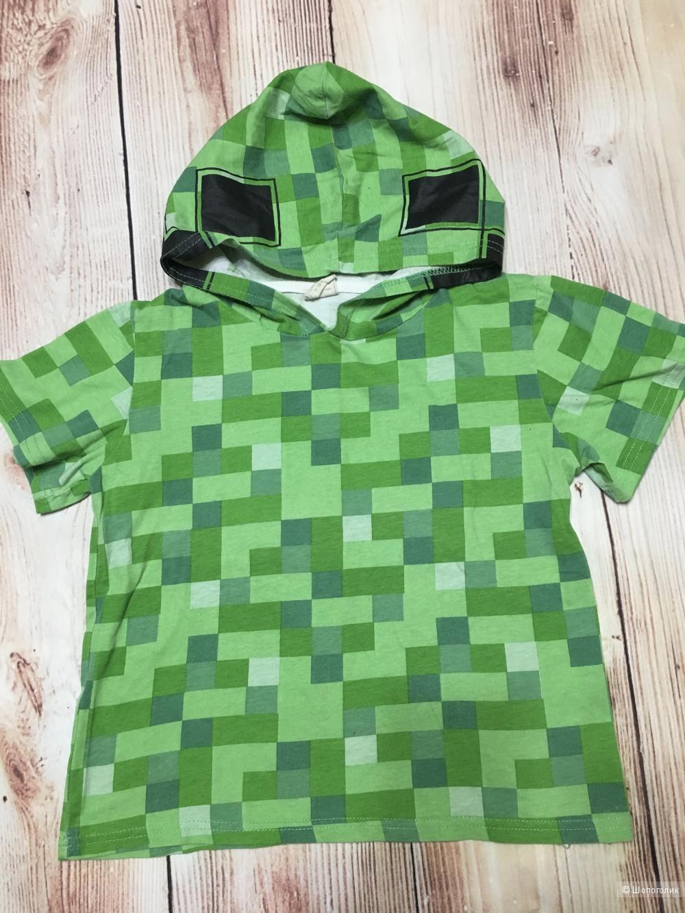 Детская футболка Майнкрафт, размер 120. На 5-6 лет