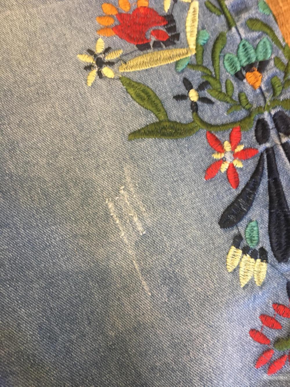 Джинсы с вышивкой,no name,44-46,46размер.