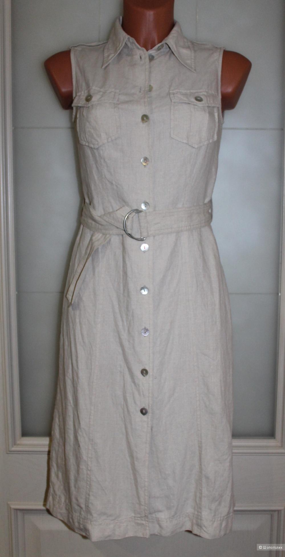 Льняной сарафан-рубашка HENNES, размер 36-38