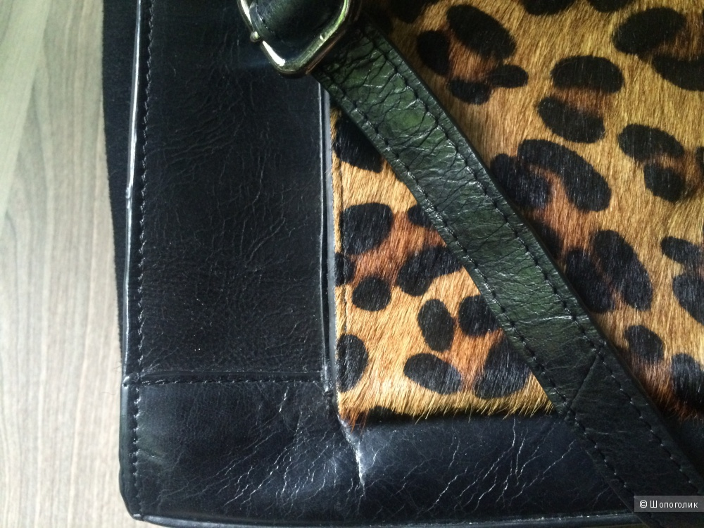 Сумка Urbancode Leather Tote Bag With Leopard Front Pocket
