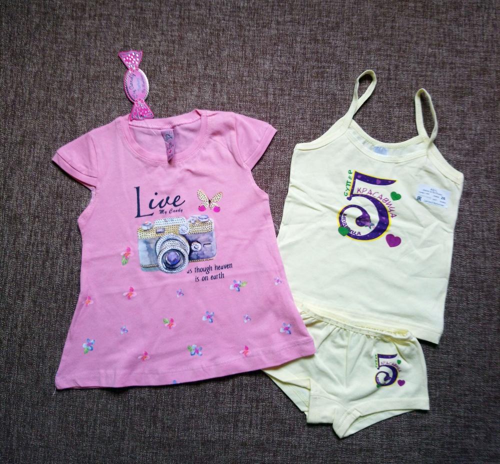 Сет: комплект детского белья и футболка, 98