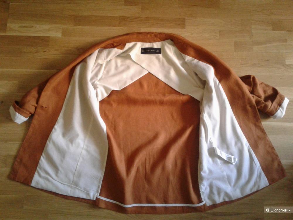 Льняной пиджак-пальто Zara S-M