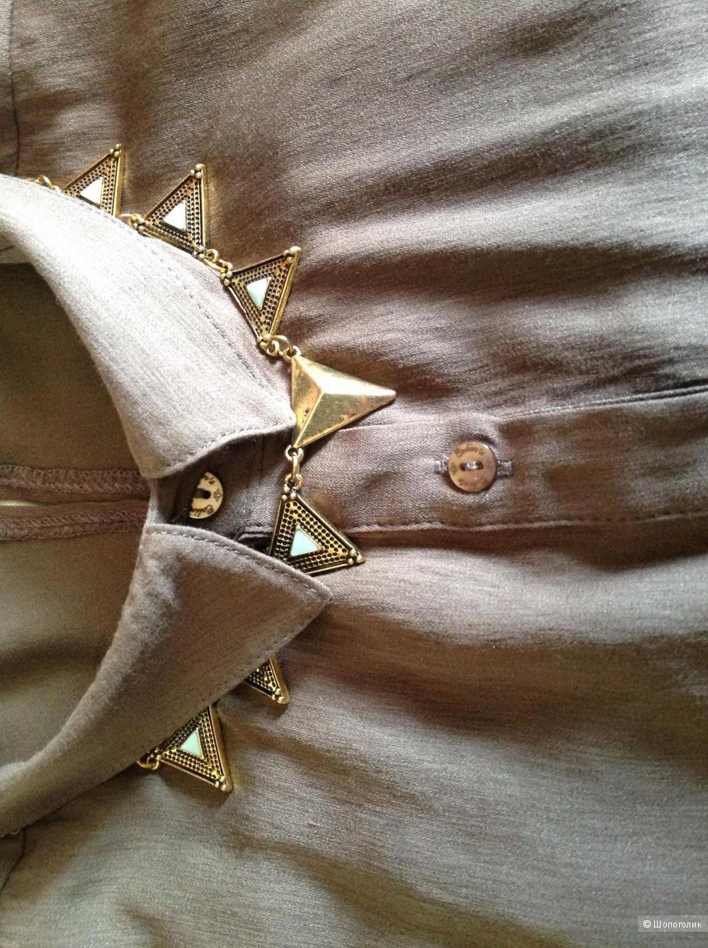Ожерелье из желтого металла со вставками из голубой эмали