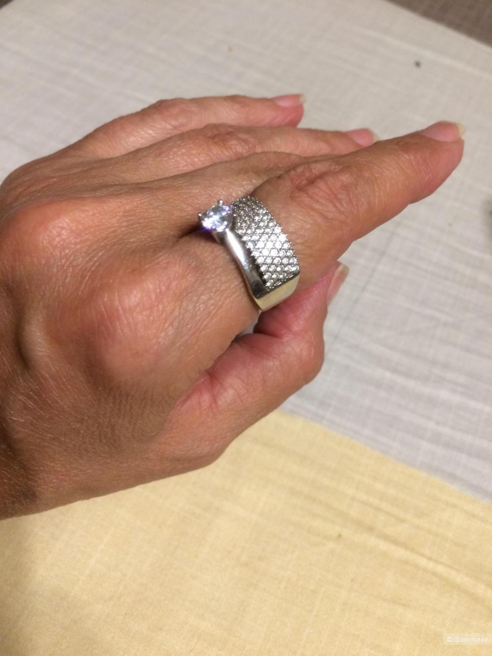 Кольцо с цирконами серебро 925 проба