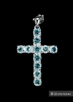 Крест серебряный, 925 проба, с голубыми топазами