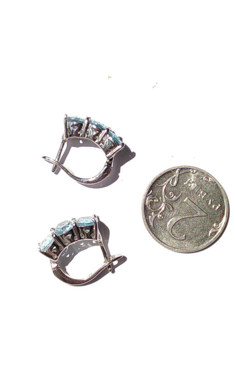 Серьги, серебро 925 с голубыми топазами