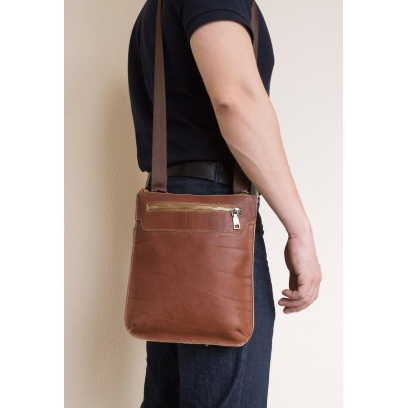 Кожаная мужская сумка через плечо Saltara cognac