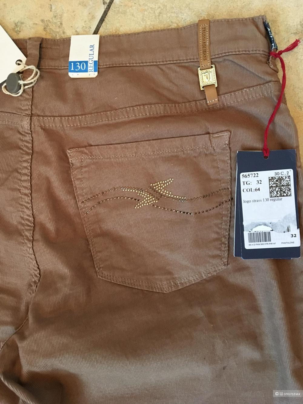 Брюки Trussardi Jeans из микровельвета, размер джинсовый 32