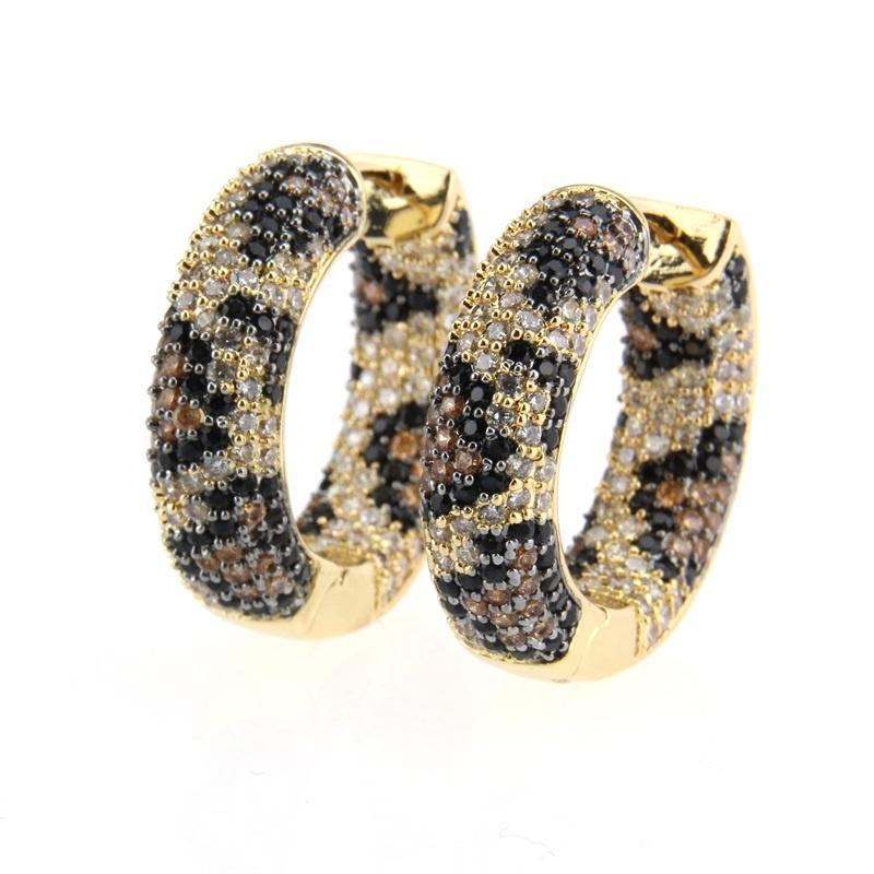 Серьги леопардовые с фианитами 0.7-2.5 см