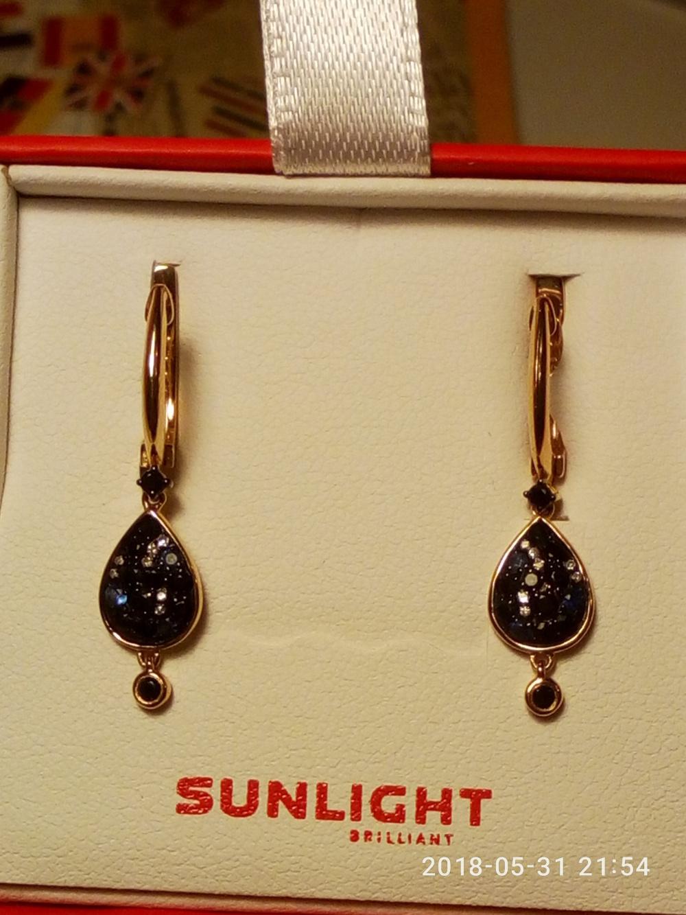 Серьги золотые с сапфирами и бриллиантами